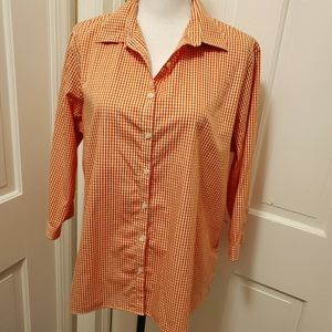 Lands End Plaid blouse orange/white - 16